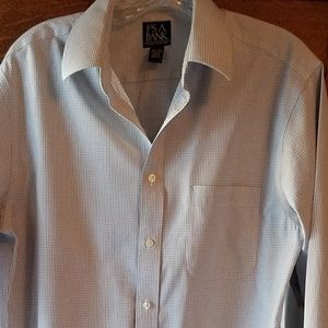 Jos. A. Bank Gray & White Checked Shirt 15 1/2 34